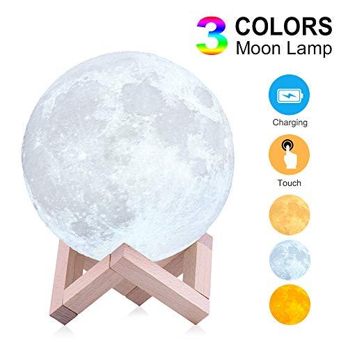 Mondlampe Nachtlicht für Kinder Geschenk für Frauen USB-Aufladung und Touch Control Helligkeit 3D-gedruckte Mondlampe,18cm