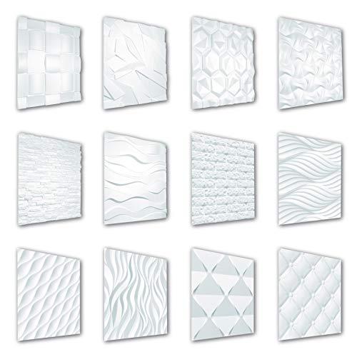 HEXIM Paneles 3D de 60 x 60 cm, diseño de pared y techo con placas de poliestireno expandido (EPS), color blanco