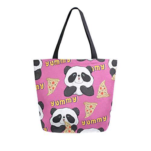Hunihuni Canvas-Tragetasche, süßes Tier, Panda, Pizza, groß, wiederverwendbar, Einkaufstasche, Schultertasche für Damen und Mädchen