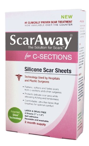 ScarAway C-Section Scar Treatment Strips, Silicone Adhesive Soft Fabric 4-Sheets (7 X 1.5 Inch) (Pack of 2) (2)