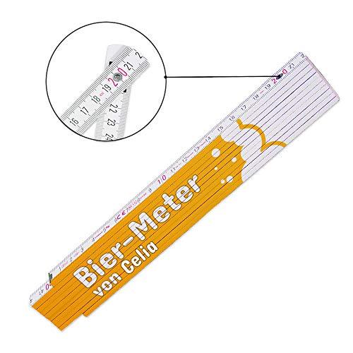 Lustiger Zollstock mit Namen Celia und Motiv - Bier-Meter - für Frauen   Glieder-Maßstab mit Namen bedruckt   Viele Namen zur Auswahl