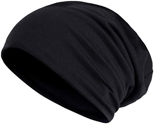 Hatstar Slouch Long Beanie 2in1 Reversible Jersey Sommer Mütze (1 farbig   schwarz)