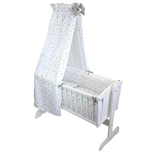 TupTam Unisex Baby Wiegen-Bettwäsche-Set 6-TLG, Farbe: Tupfen-Sterne Grau, Anzahl der Teile:: 6 TLG. Set