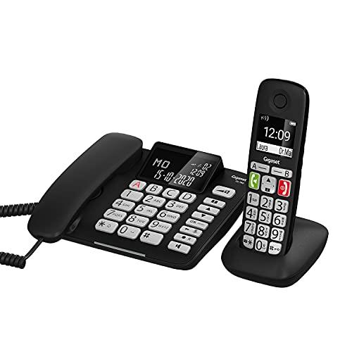 Gigaset DL780 Plus - Schnurgebundenes Telefon und schnurloses Telefon - Kombi-Set - Verstärker-Funktion für extra lautes Hören - hörgerätekompatibel - gemeinsames Telefonbuch, schwarz
