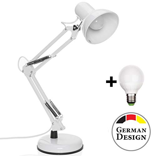 Goods & Gadgets Retro werklamp leeslamp bureaulamp werklamp bureaulamp bureaulamp met scharnierarm van metaal incl. LED-lamp