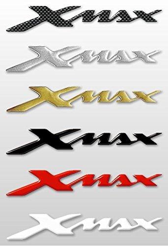 Labelbike - 2adhesivos de resina 3D con el texto «XMAX» para Scooter, accesorios Yamaha X Max Simil Carbonio