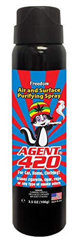 "Agent 420-3.5 oz Cannabis Odor Destroying Spray for Eliminating Pot Smoke, Cigarette or Most Unwanted Odors in Your House, Car or Apartment, Freshen Up The ""Joint!"""