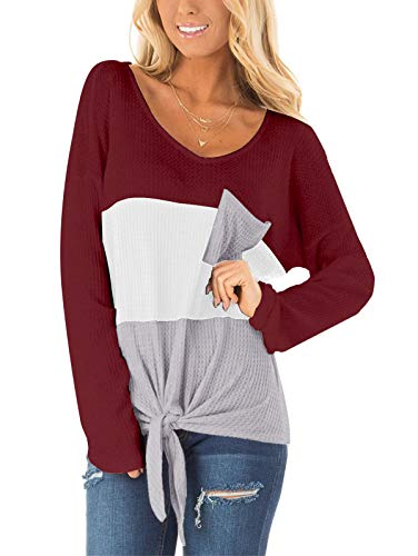 SHIBEVER Women Waffle Knit Shirts Tops Tie Hem Tee Blouses Casual V Neck Long Sleeve Loose Fit Pullover Sweaters with Pocket Burgundy M