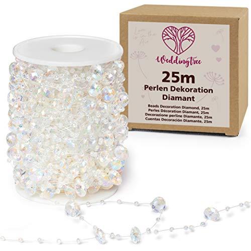 WeddingTree 25m Perlengirlande weiß Diamant - Perlenband für Hochzeits- und Partydeko Geburtstag Taufe Weihnachten - 1 Rolle