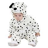 Katara-Pijama Bebé (10+ Modelos) Invierno Disfraz Animal 6-12 Meses, color perro dálmata blanco-negro, (1778-010)