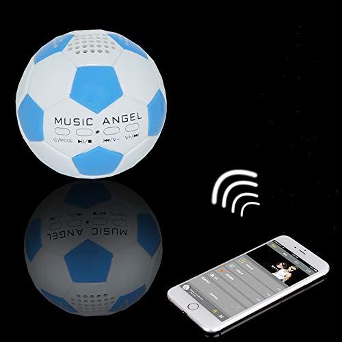 Music Angel JH-ZQBT3 Mini Football Super Bass mp3 Player Support TF Card, Hi-Fi Sound Mini Soccer Wireless Bluetooth Speakers Best Birthday Gift for Kids/Parent/Friends [Blue]