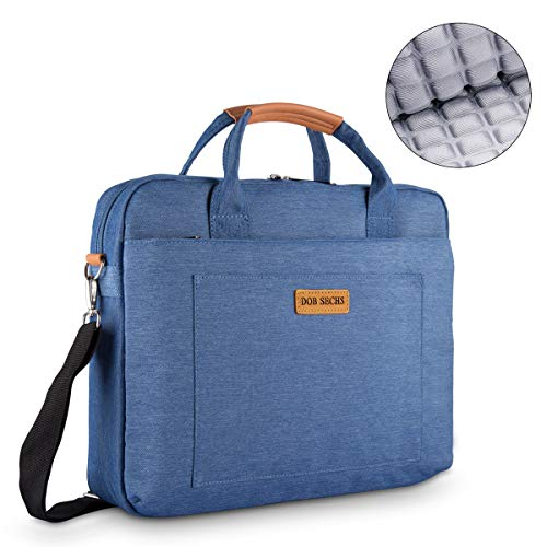 DOB SECHS 15-15.6 Zoll Laptoptasche Aktentaschen Handtasche Tragetasche Schulter Tasche Notebooktasche Laptop Sleeve Laptop hülle für bis zu 15-15.6 Zoll Laptop Dell Alienware/MacBook/Lenovo/HP,Blau