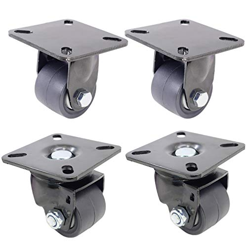 DrLuck 2 Inch 38mm Width Nylon Wheel Combo Caster Set 2 Top Plate Fixed amp 2 Swivel Low Center of Gravity Heavy Duty Caster Double Ball Bearing Total Load Capacity 2650 Lbs 2 Rigid amp 2 Swivel
