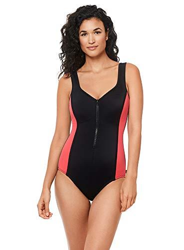 Reebok Women's Swimwear Sport Fashion Colorblock V-Neckline Zipper Tank One Piece Swimsuit, Black/Coral, 08
