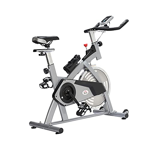 HOMCOM Bicicleta Estática de Ejercicio con Sillín Ajustable Volante de Inercia de 13kg Resistencia Manillar Regulables Pantalla LCD 96x50x107cm Acero Plata