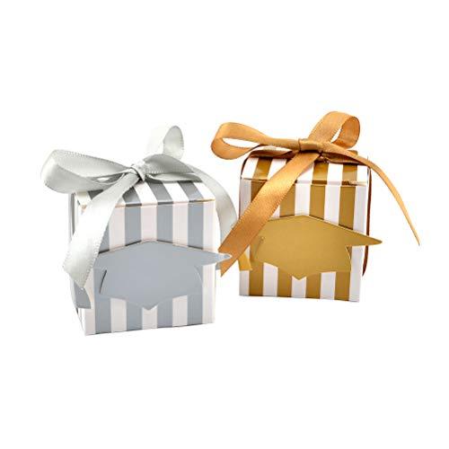 Amosfun 50 stks creatieve snoep dozen afstuderen cap patroon chocolade gift traktatie dozen met lint bruiloft partij gunst (goud/zilver)