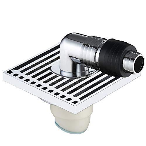 Feixunfan Bodenablauf Antique Copper Quadrat Drainage Bodenablauf Geruch Bodenablauf Zu Verhindern Badezimmer Verstopfung für Badezimmer Duschraum Toilette (Color : Silver, Size : 10 x 10 x 4.8 cm)
