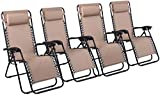 Zero Gravity Chairs, Lounge Patio Outdoor Recliner Chairs by Naomi Home Cream/Set of 4