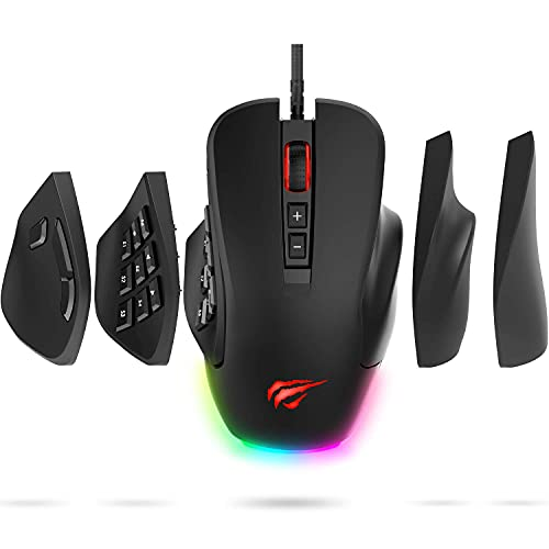 Havit Gaming Mouse Computer Ergonomic Wired Mice with 14 Programmable Buttons Interchangeable Side Plates (8 Buttons/ 8+6 Side Buttons), 2 Replaceable Right Plates for Laptop PC Gamer (Renewed)