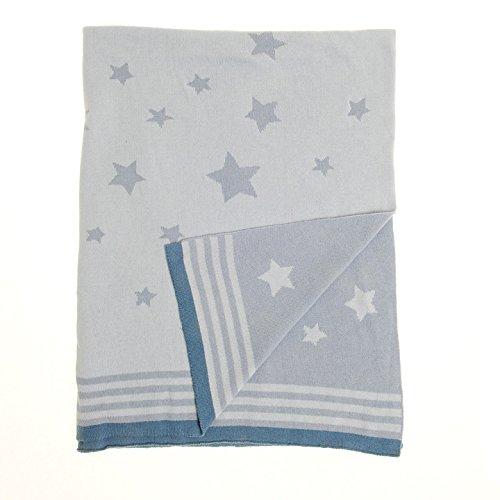 Zippy Baby Wendedecke in blau Sterne für Kinderzimmer Kinderbett und Kinderwagen, 100% gekämmte Baumwolle gestrickt, perfekte Geschenk