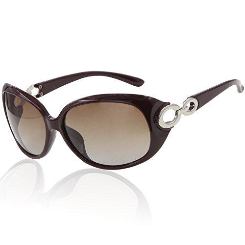 DUCO Damen Sonnenbrille polarisiert Klassisch Stern 100% UV-Schutz 1220 (Weinrot)