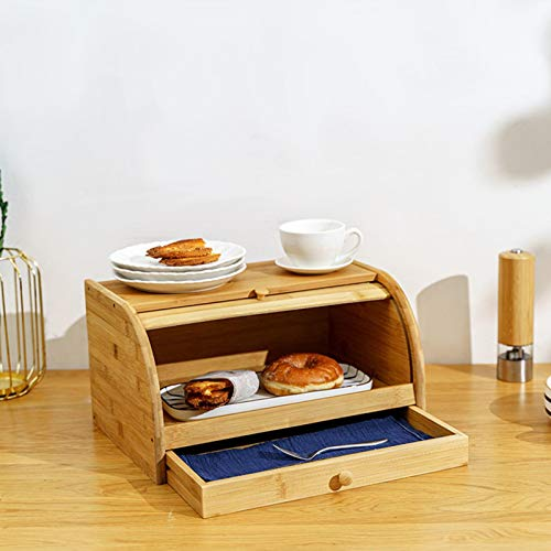 Cassiela Brotbox Bambus-Brotkästen Rollbrotkasten Brotkorb, mit Schublade, Doppelschicht, Multifunktional Lebensmittelbehälter