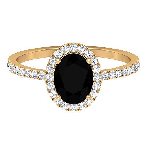 Rosec Jewels - Anillo de diamante negro y halo moissanita de 2 CT creado en laboratorio, 8 x 6 mm, corte ovalado, diamante negro, solitario, 14K Oro amarillo, Size:EU 53
