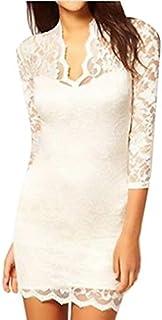 Ladies' Slim Flower V-neck Middle 3/4 Sleeve Women's Party Evening Elegant Mini Lace Dress For Women Gg0045 White Sizes
