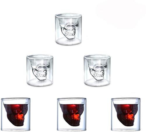 ASTARC Juego de 6 Vasos de chupito de Calavera de 75 ml,...
