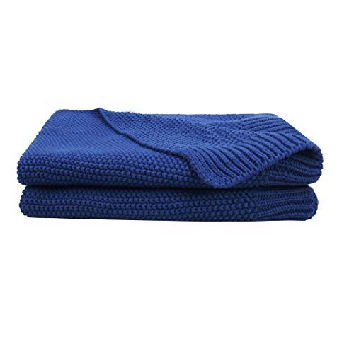 PICCOCASA 100% Algodón Tejida Manta - Suave Sólida Decorativa Tejida Manta para Sofá Cama Azul Real 30'x 40'