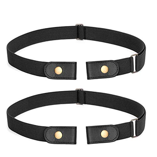 2 Pack No Buckle Stretch Belt For Women Men Elastic Waist Belt Up to 72 Inch for Jeans Pants,Black,Pants Size 23-30 Inches