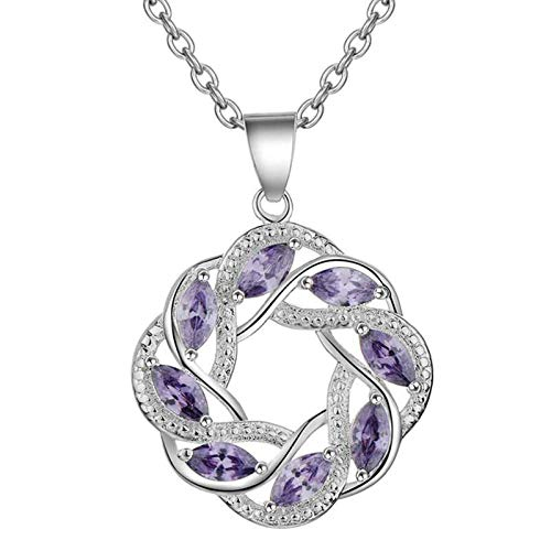 Daesar Womens Necklace Pendant, Pendant Necklace Gold Plated Necklace for Women Garland with Purple Cubic Zirconia Silver Necklace Dainty
