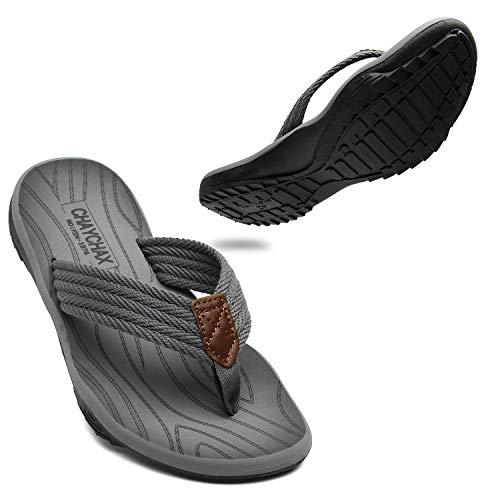 ChayChax Infradito Uomo Scarpe da Spiaggia e Piscina Sportive Beach Sandali Morbide Ciabatte Antiscivolo Pantofole con Gomma Suola,Grigio,44 EU