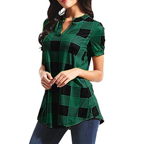 MORCHAN Femmes Casual Plaid Imprimé à Manches Courtes col V Irrégulière Hem Blouse T-Shirt Tops(FR-48/CN-2XL,Vert)