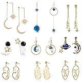 Weird Earrings Cute Earrings Fun Earrings Cool Earrings Aesthetic Earrings Abstract Face Earrings Star and Moon Earrings Lesbian Earrings Long Drop Dangle Earrings for Girls and Women