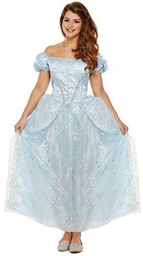 femme long bleu princesse halloween comte de fées ENTERREMENT VIE JEUNE FILLE COSTUME DÉGUISEMENT UK 8-10-12