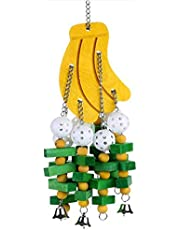 Bird Swing Toys with Colorful Wood Beads Bells and Wooden Hammock Hanging Perch