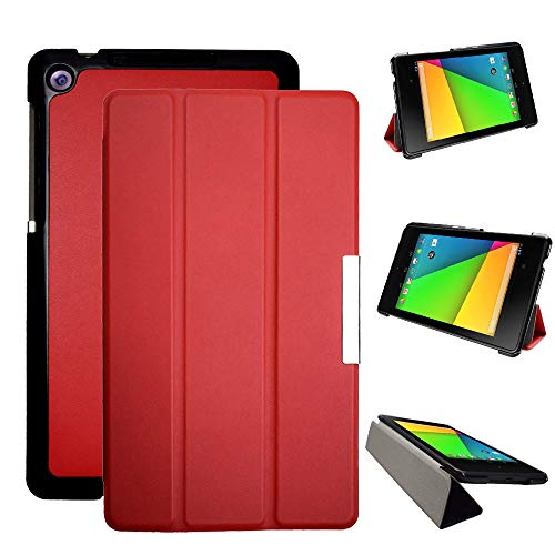 Kuesn Google Nexus 7 2nd (2nd.2013 Model) pu Leather Pouch with Stand - Fit for 2013 Release Nexus 7 Tablet (Red)