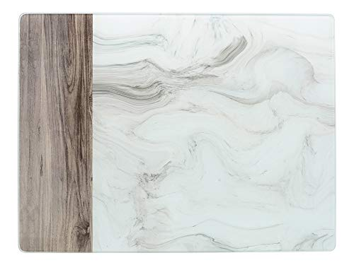 Creative Tops - Protector de encimera de cristal (40 x 30 cm), color blanco y gris
