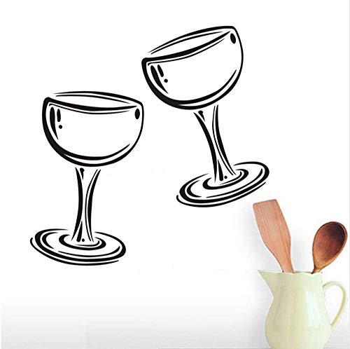 Twee glazen wijn champagne wandtattoo vinyl sticker restaurant interieur kunst wandschilderijen decor keuken huis decals poster 59 * 59 cm