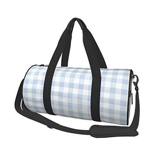 Bolsa de deporte de gimnasio, ligera, potable, bolsa de lona para el hombro, bolsas de lona de color azul pastel y blanco de gran capacidad, bolsa de viaje multifunción, bolsa de gimnasio