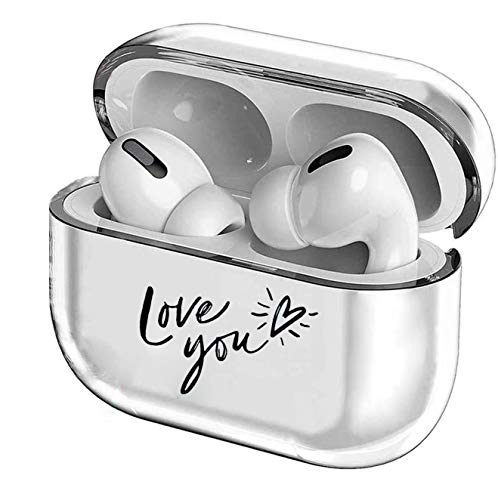 Crystal Clear Protective TPU Cover Compatible with Apple AirPods Pro Wireless Charging Case,[Front LED Visible] Shockproof,Cute Smooth TPU Hard PC Transparent Skin Accessories Fun Cases-Love