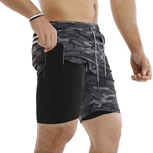 MECH-ENG Men s Workout Running 2 in 1 Shorts Training Gym 7  Short with Pockets(Camo Grey L Tag 2XL)