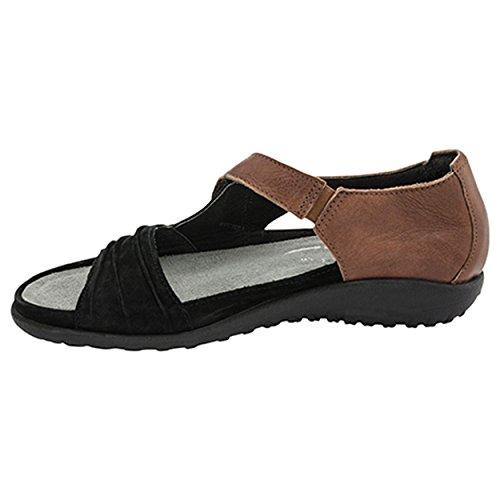 Naot Footwear Women's Papaki Sandal Black Velvet/Cinnamon Combo 6 M US