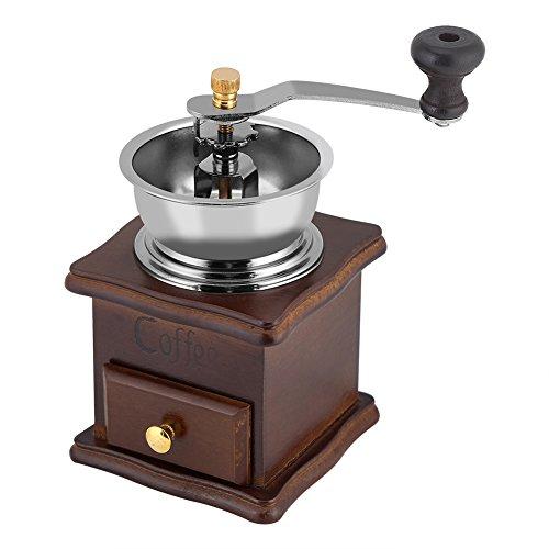 Fdit Molinillo de granos de café vintage de madera manual d