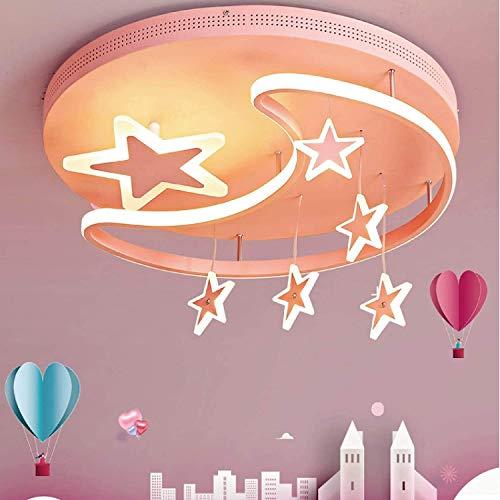 Lámpara de techo LED regulable moderna lámpara de techo para habitación de niños con control remoto 3000K-6000K niños niñas dormitorio luz creativa acrílico luna estrellas iluminación lámpara