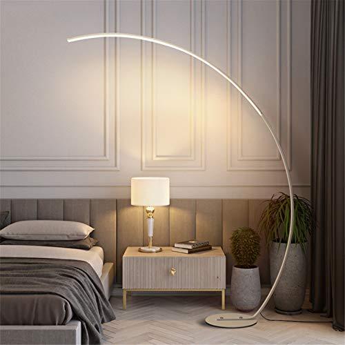 QJUZO Lampara pie Acabado Aluminio, Lampara de pie Moderna Lampara pie Arco LED Regulable Luz de Pie para Salon Dormitorio Estudio y Leer Luz Cuidado Ojos Bajo Consumo, 25W,Blanco…