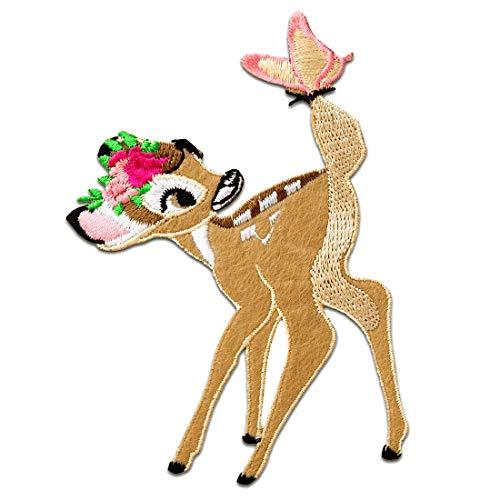 BambiDisney animal niños – marrón – 6,5x9,5cm - Parches termoadhesivos bordados aplique para ropa, tamaño: 6,5 x 9,5 cm