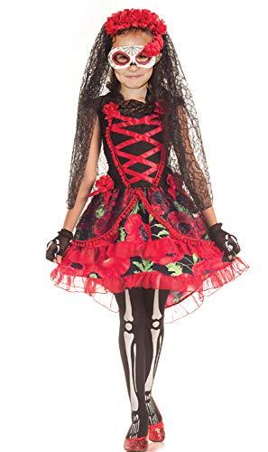 Forever Young Kids Girls Da de los Muertos Esqueleto Zombie Novia Disfraz Disfraz Halloween 10-12 aos