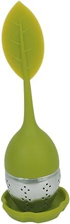 Acier inoxydable Infuseur à thé avec couvercle Passoire en silicone Feuille verte